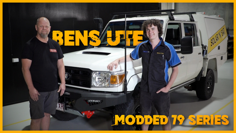 Ben and Dan Kronk standing in front of bens reworked and upgraded 79 Series Landcruiser after getting upgrade from A2Z 4x4 Accessories.