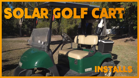 Green golf buggy kitted out with a solar power system