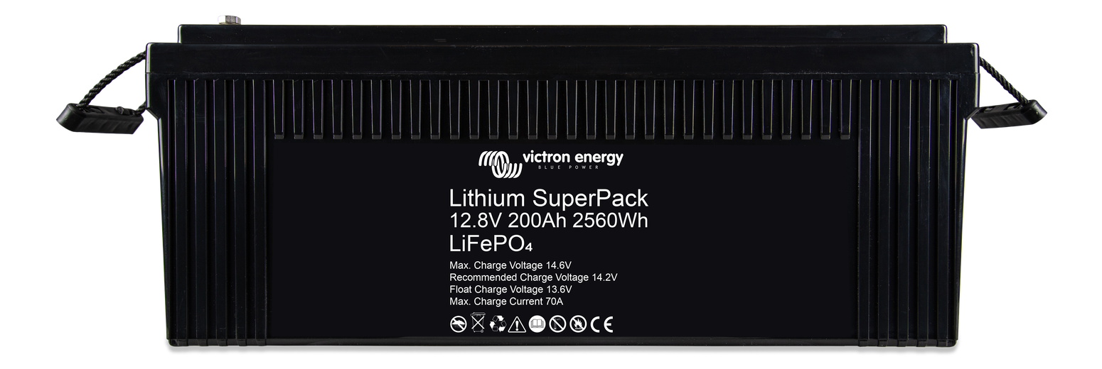 Victron Lithium SuperPack 12.8V 200ah Battery White Background