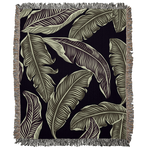 Big Leaves Woven Blanket