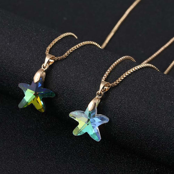 Glass Starfish Charm Starfish Necklace