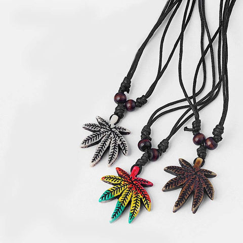 Rasta Style Pot Leaf Necklace