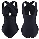 Basic Cross Halter One Piece Swimsuit