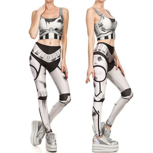 Star Wars Stormtrooper Crop Tops and Leggings Set Costume