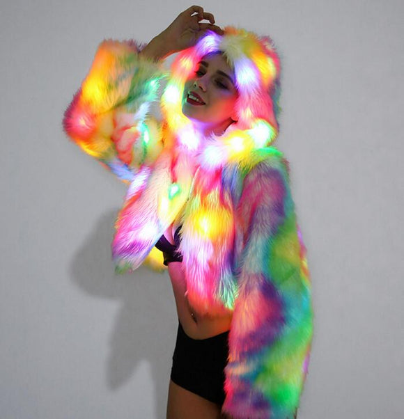 LED Lights Hooded Faux Fur Jacket Costume