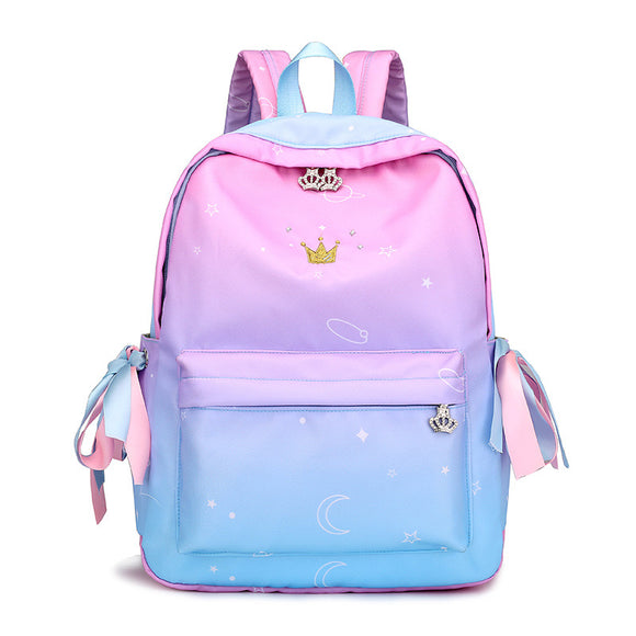 Preppy Style Ribbon Backpack Crown Bag