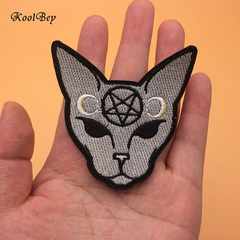 2pcs Gothic Cat Iron On Patches