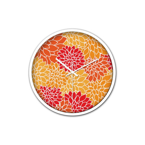 Orange Flowers Clock