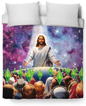 Jesus Died For Your Sims Duvet Cover