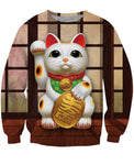 Beckoning Cat Crewneck Sweatshirt