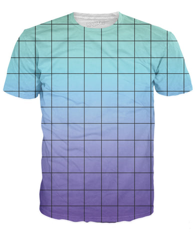 Blue Purple Grid T-Shirt