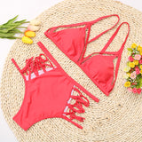High Waisted Brazilian Strap Bikini Set