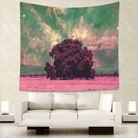 Beautiful Night Sky Forest Wall Tapestries