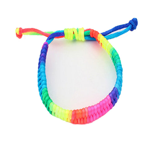 Adjustable Rainbow Fluorescent Woven Bracelet