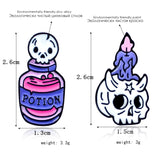 Cartoon Skull Candle Death Potion Pins