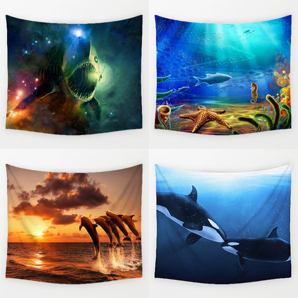 Comwarm Funny Joyous Ocean Animals Series Swimming Dolphin Killer Whale Pattern Wall Hanging Polyester Tapestry Home Decor Art