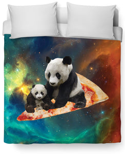 Space Pizza Panda Duvet Cover