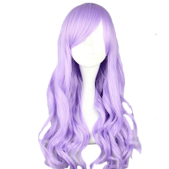Long Synthetic Wavy Purple Wig Costume