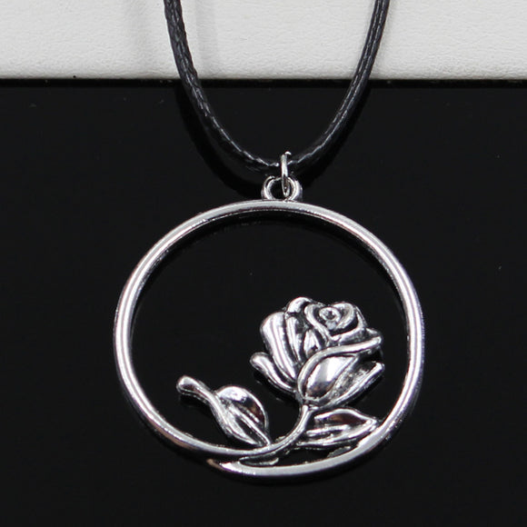 Silver rose flower Necklace Choker