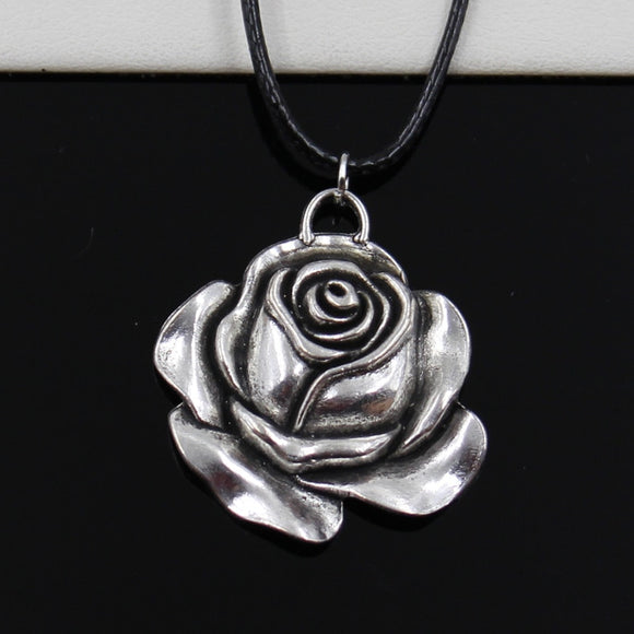 Black Silver Rose Flower Necklace Choker