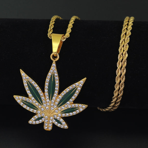 New Hip Hop Enamel Leaf Necklace