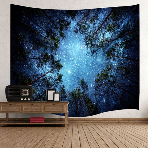 Psychedelic Forest Trees and Stars Starry Sky Tapestries