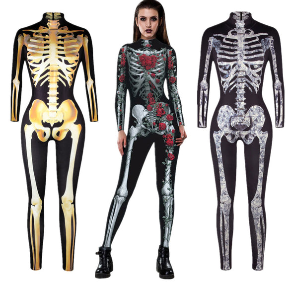 Skull Skeleton Jumpsuit Costume