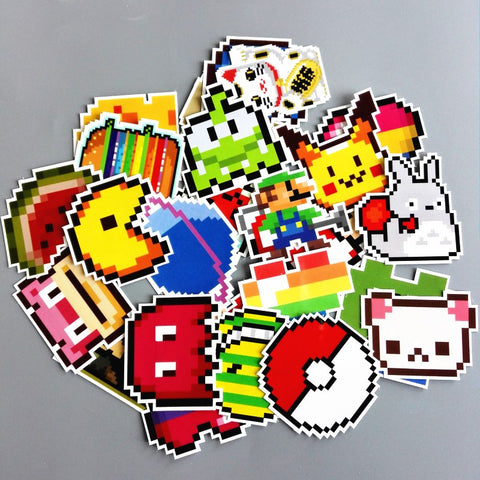25Pcs/lot Mario Pixel Stickers