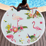 XC USHIO 2019 Newest Style Fashion Flamingo 450G Round Beach Towel With Tassels Microfiber 150cm Picnic Blanket Mat Tapestry