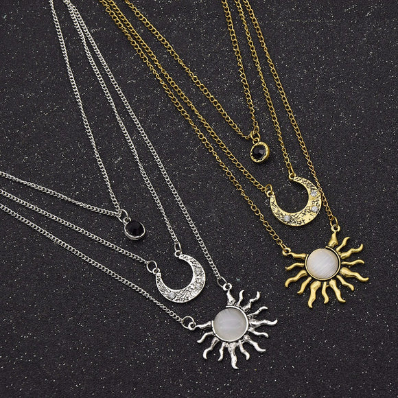 Moon Sun Multilayer Chain Necklace