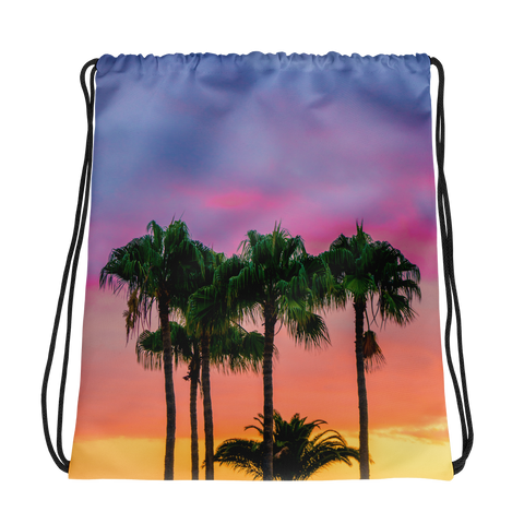 Palm Tree Sunset Drawstring bag
