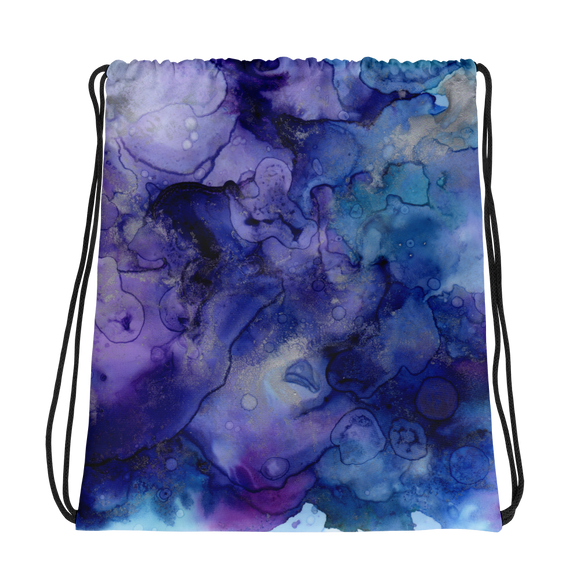 Purple Watercolor Drawstring bag