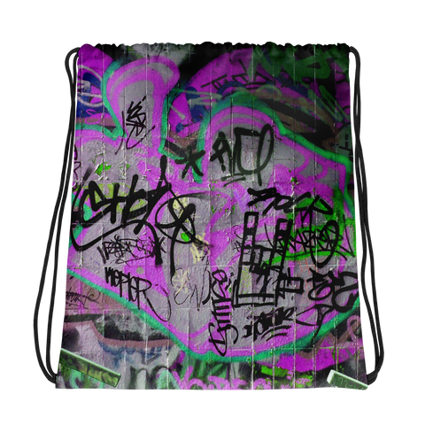 Purple graffiti Drawstring bag
