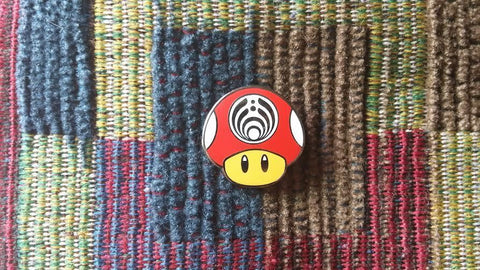 EDM Bass Music Festival Rave Red Magic Mushroom Video Game Gamer Lapel Hat Pin