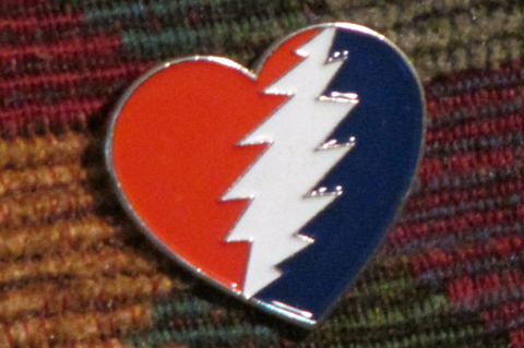 Dead Head Steal Your Love Heart Glow in the Dark Lightning Bolt Enamel Hat Pin