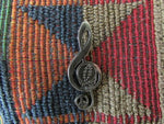 Dead Head Peace Sign Through Music Metallic Silver Treble Clef Music Note Pin