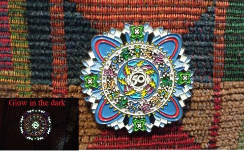 Dead Head 50th Anniversary Dancing Bear Sacred G Geometry Mandala Lapel Hat Pin