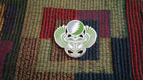 Dead Head Egyptian Scarab Family Wings Enamel Lapel Hat Pin