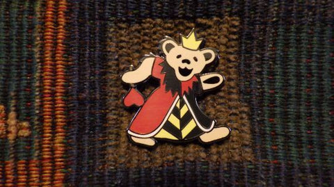 Dead Head Alice in Wonderland Inspired Queen Of Hearts Dancing Bear Hat Pin