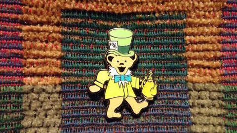 Dead Head Alice in Wonderland Mad Hatter Dancing Bear Enamel Lapel Hat Pin