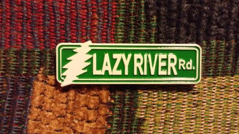 Dead Head Lazy River Road Rd Lighting Bolt Street Sign Enamel Lapel Hat Pin