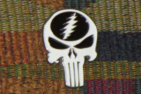 Dead Head Punish Your Face White Skull Glow in the Dark Lightning Bolt Hat Pin
