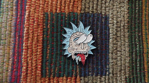 Zombie Rick Melting Face Enamel Lapel Hat Pin