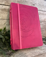 "Bible Cover: Medium Pink ""Amazing Grace"""