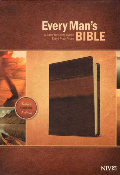 """Every Man's Bible: A Bible For Every Battle Every Man Faces (Deluxe Heritage Edition; NIV)"" by Tyndale"