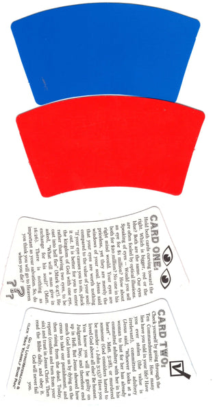 """Red and Blue Card Illusion Gospel Tract"""