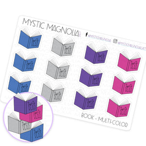 Multicolor Books Planner Sticker Sheet