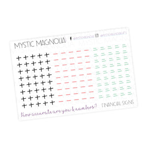 Financial Signs Planner Sticker Sheet
