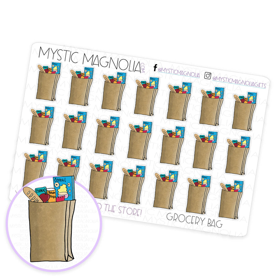 Grocery Bag Planner Sticker Sheet