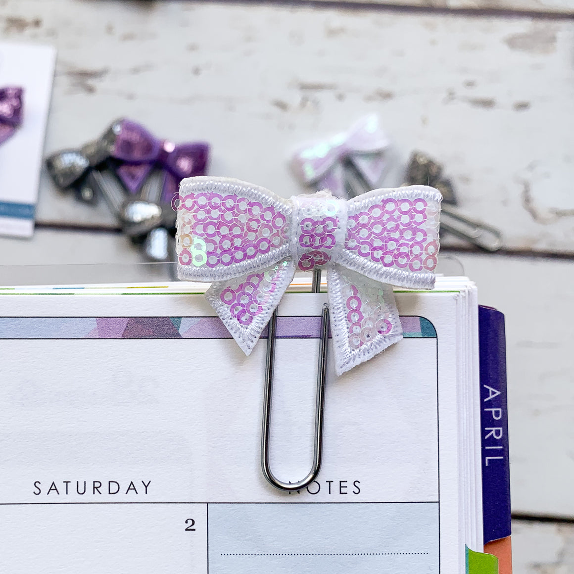 Sparkly Bow Planner Clips